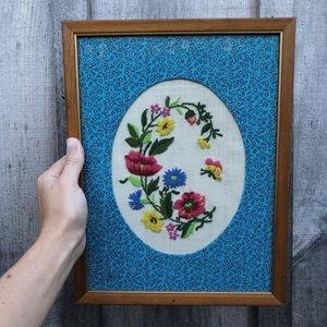 vintage framed wall embroidery